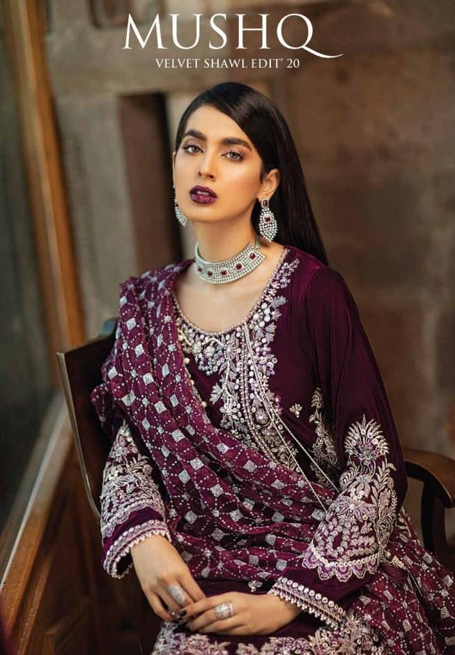 Mushq Velvet Shawl Collection'20